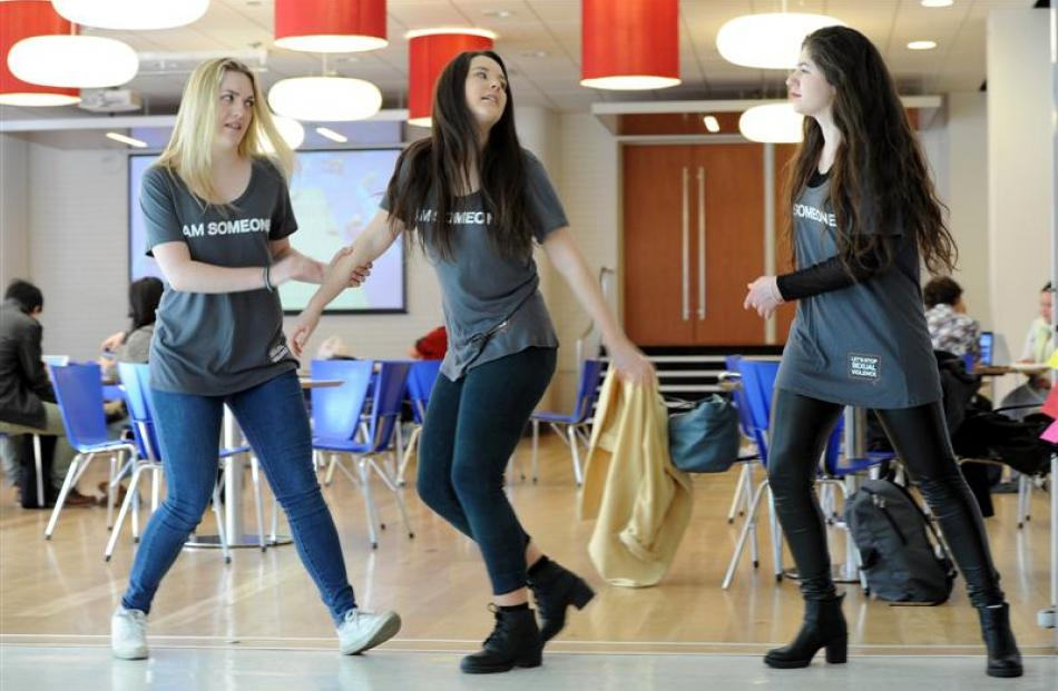 University of Otago students (from left) Michelle Keating, Danielle Rolls and Lydia Bernard (all...