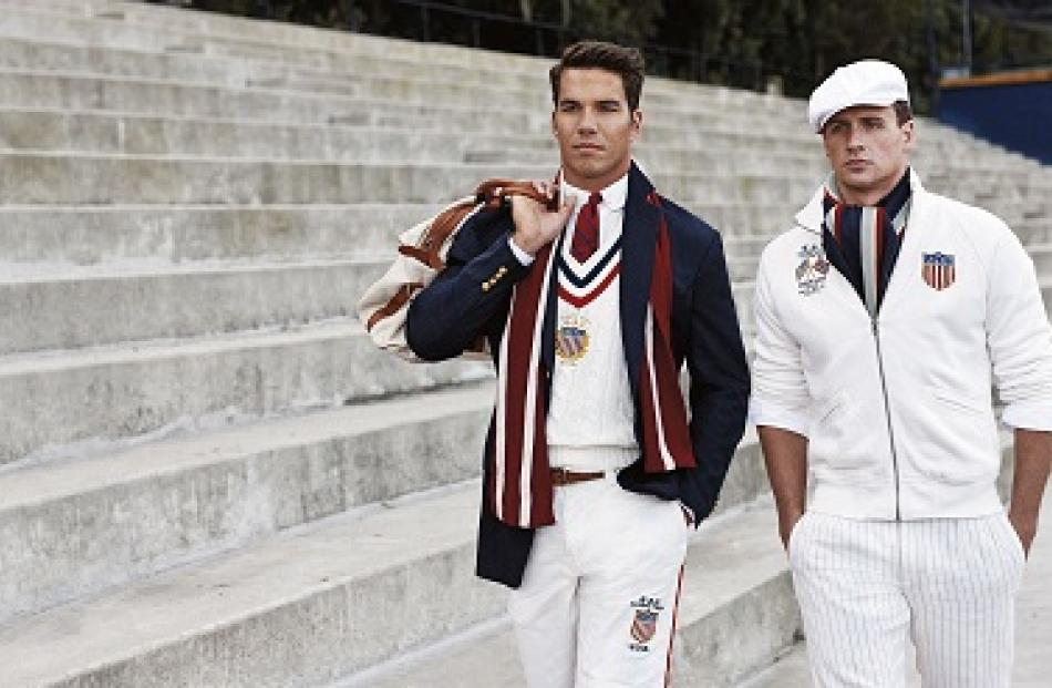 US Olympic athletes rower Giuseppe Lanzone and swimmer Ryan Lochte are pictured wearing the 2012...