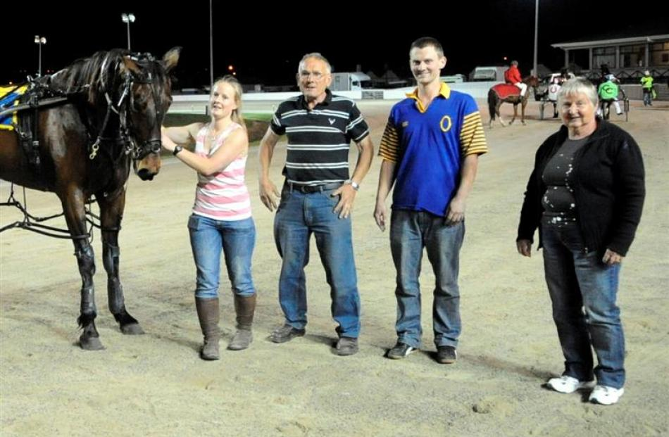 Vic N Art with his owners Jacqui, Eion, Brent and Pat Latimer after success last night at Forbury...