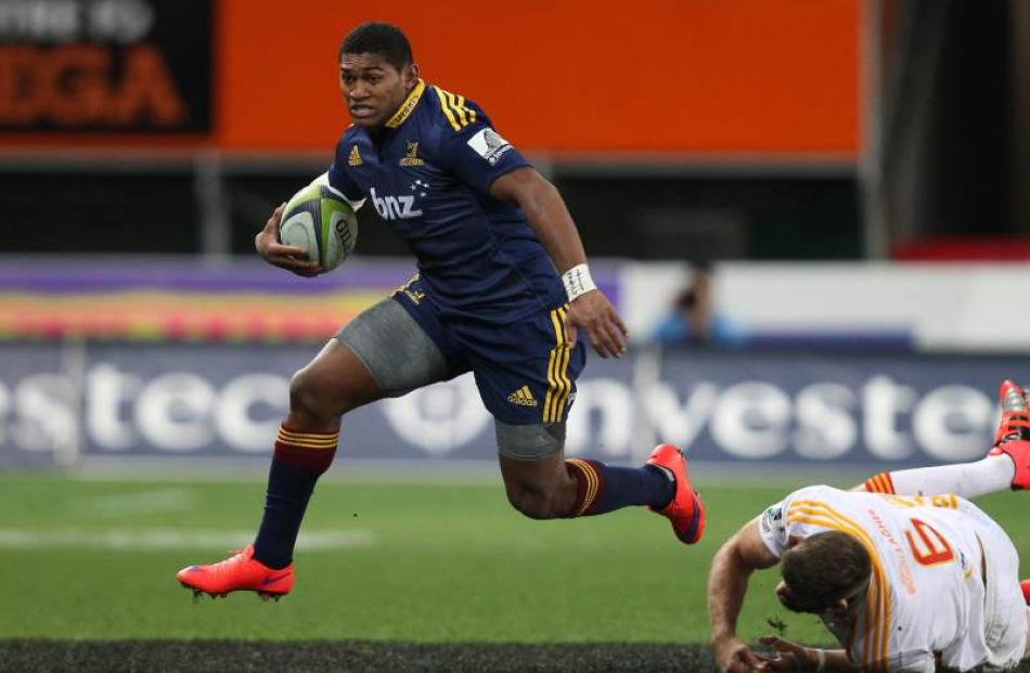 Waisake Naholo of the Highlanders on the attack during the Super Rugby Qualifying Final match...