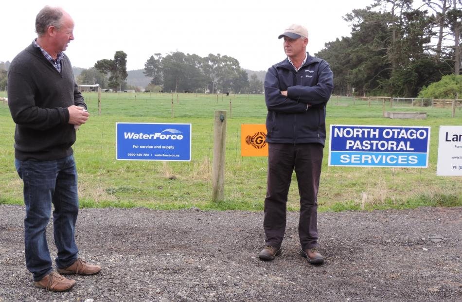 Waitaki Boys' High School farm committee chairman Graham Butler (left) and WaterForce irrigation...