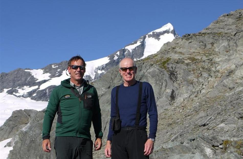 Wanaka climbing guide Guy Cotter (left) with Sir Edmund Hillary's son, Peter, of Auckland, this...