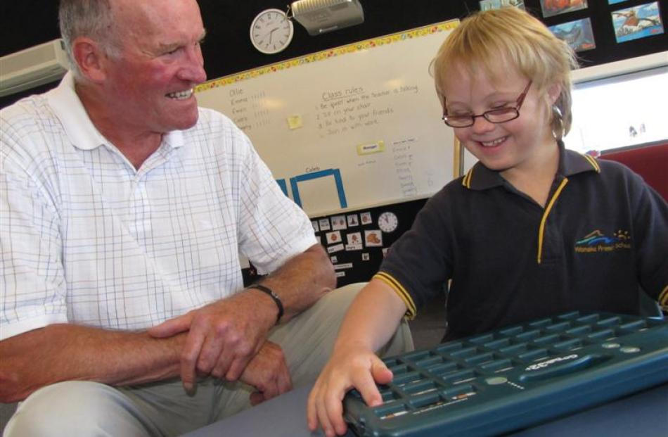 Wanaka Primary School pupil Caleb Smith, who has Down Syndrome, shows Upper Clutha Children's...