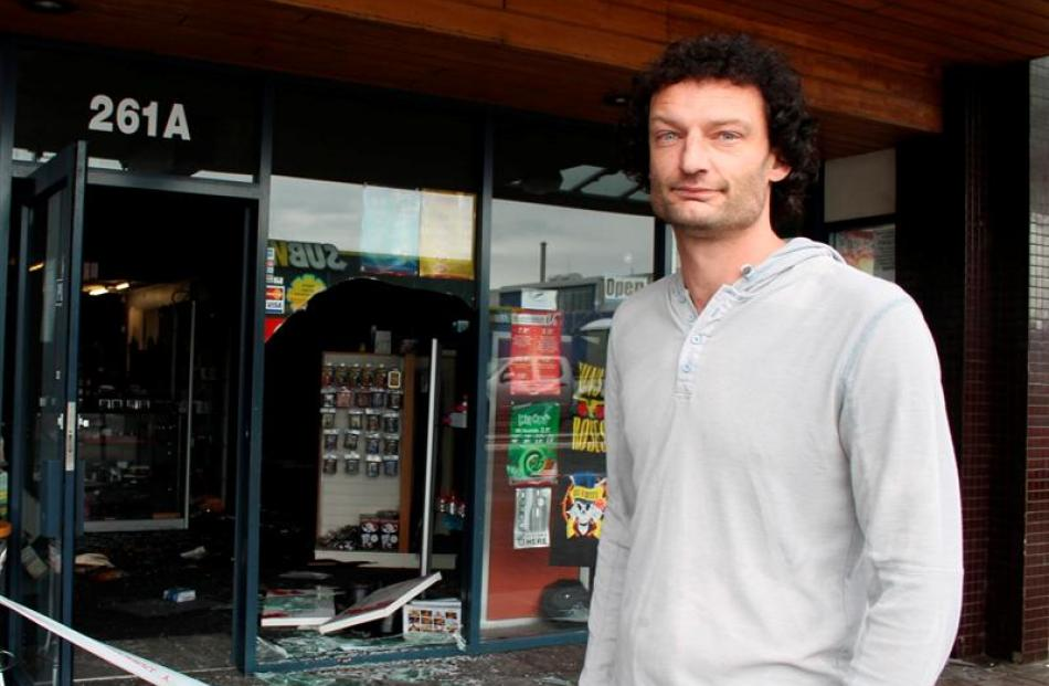 Warren Skill, owner of the Impuls'd legal highs shop in South Invercargill, surveys the damage...