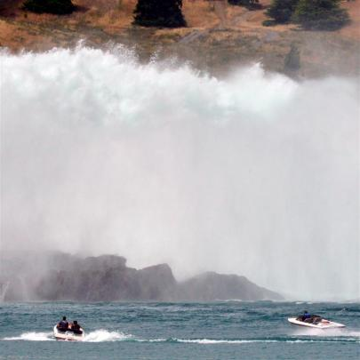 Water pours from the spillway of the Benmore dam at the head of the Waitaki Valley yesterday,...