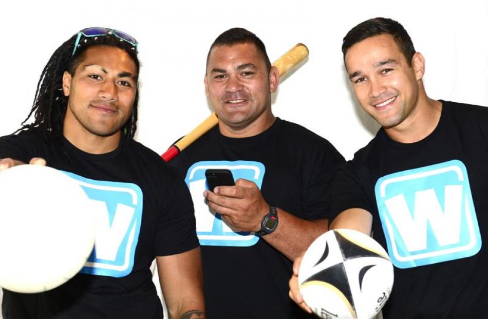 Waterboy promoters (from left) Ma'a Nonu, Kees Meeuws and Tamati Ellison in Dunedin yesterday....