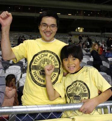 Wellington Phoenix supporters Ahmad Abdul (left) and Ayoub Ahmad (8).