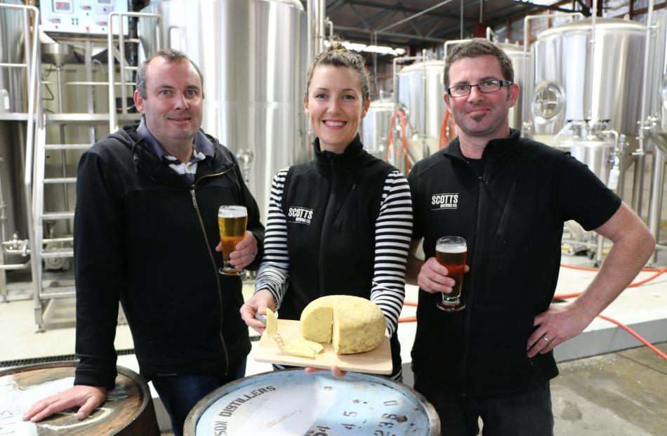 Whitestone Cheese chief executive officer Simon Berry (left) and Scotts Brewing Company owners...