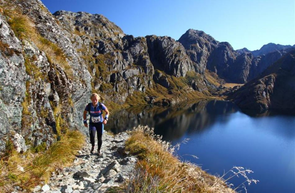 Whitney Dagg, of Dunedin, traverses the Harris Saddle during the annual Routeburn Classic on...