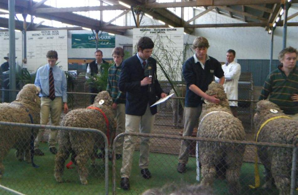 Will Gibson speaks about the full wool merino ram class in a merino junior judging competition at...