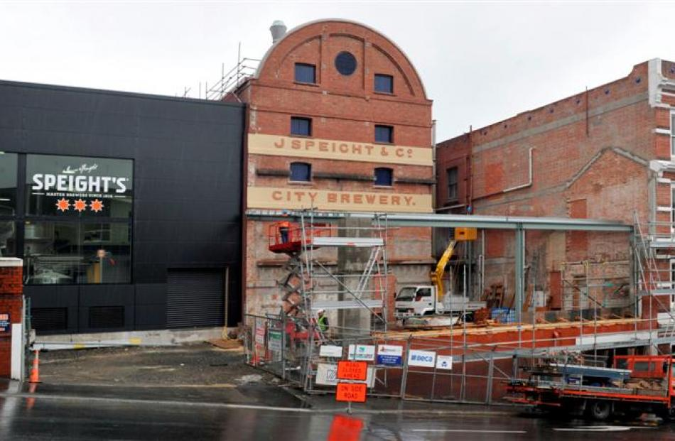 Work continues on the redevelopment of the Speight's Brewery in Dunedin. Photo by Craig Baxter.