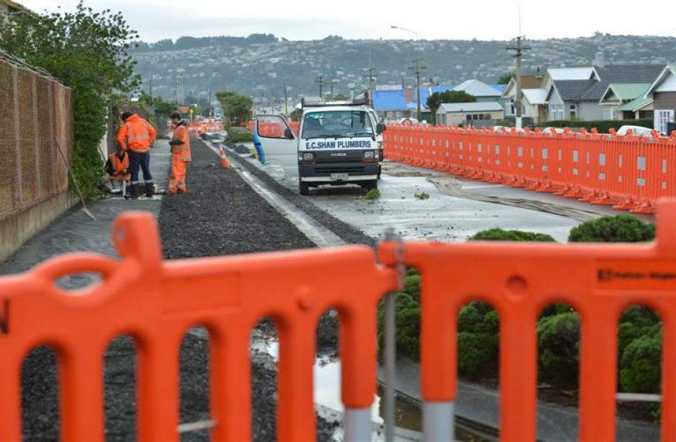 Work continues on the South Dunedin network cycleway on Tahuna Rd in May. Photo by Peter McIntosh.