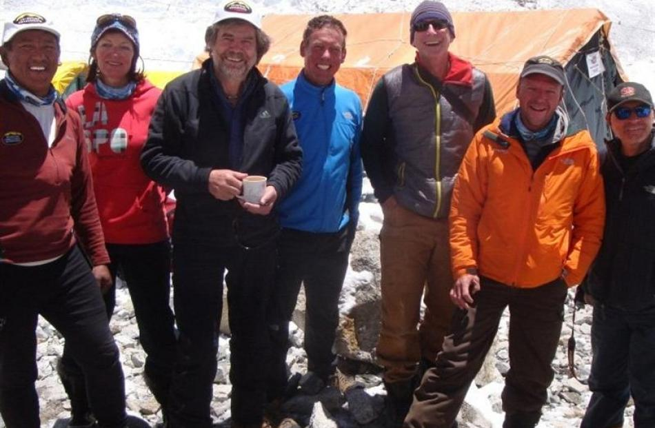 World-renowned German climber Reinhold Messner (third from left) with Adventure Consultants...