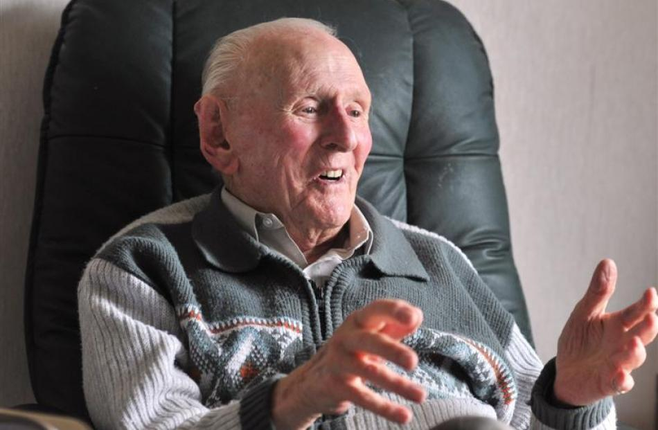 World War 2 veteran Gerald Huntley talks about his time in the military, at his Mosgiel home.