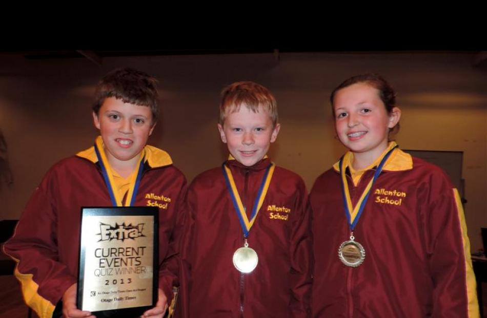 Years 5 and 6  winners of the Extra! Otago Daily Times Current Events Quiz are the Allenton...