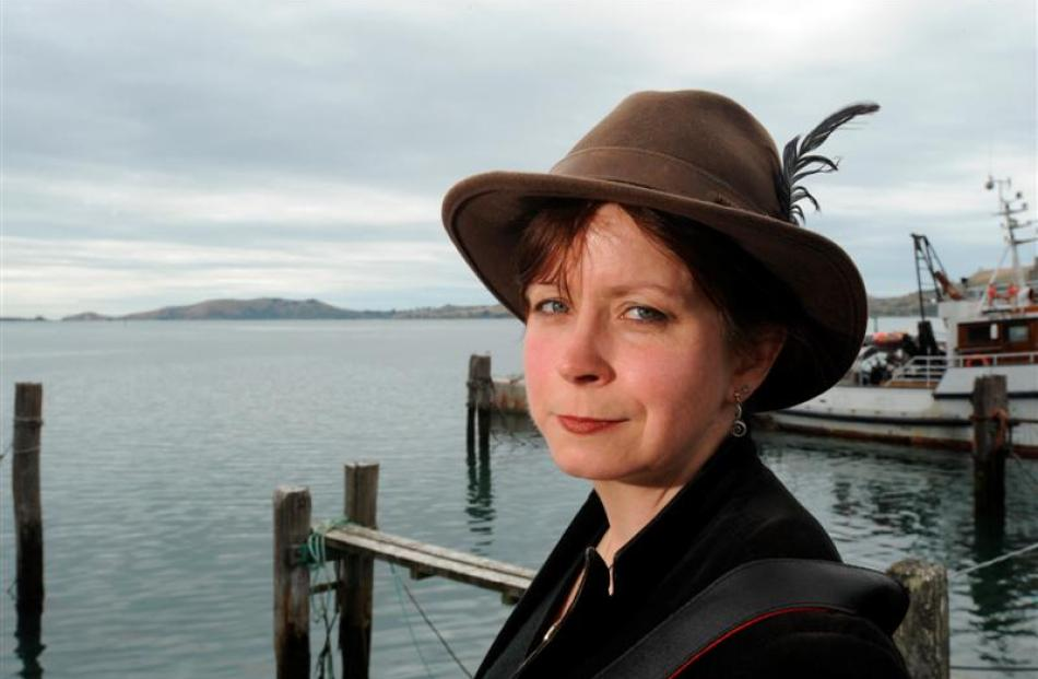 Zoe Young at Port Chalmers yesterday, where her grandmother last saw her first husband, Captain...