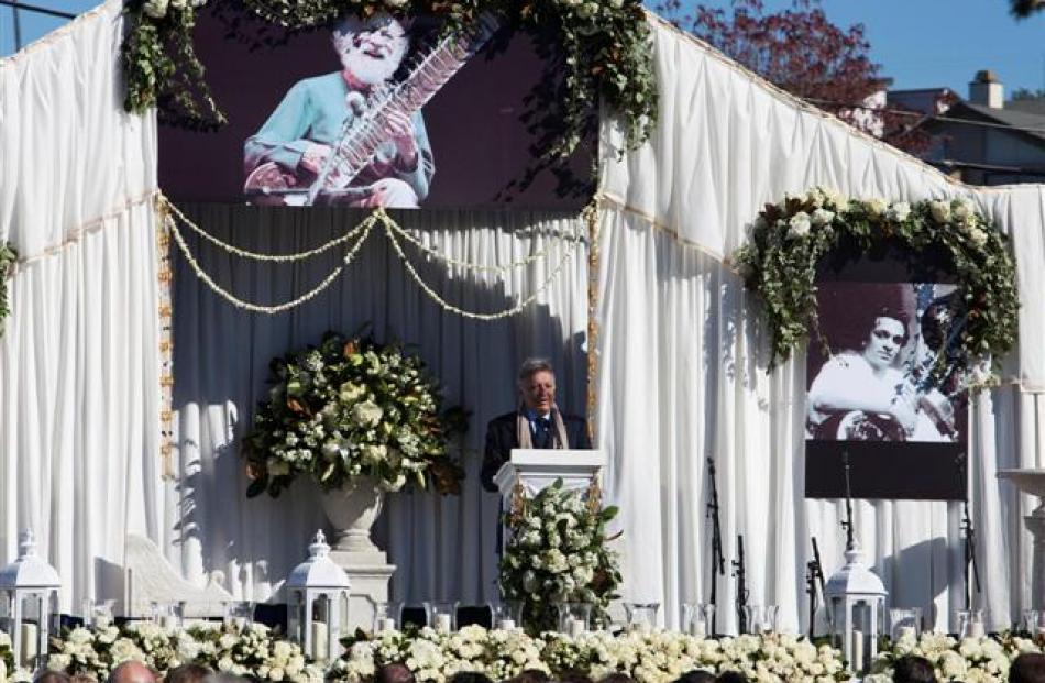 Zubin Mehta speaks at memorial services for sitar legend Ravi Shankar in Encinitas, California....