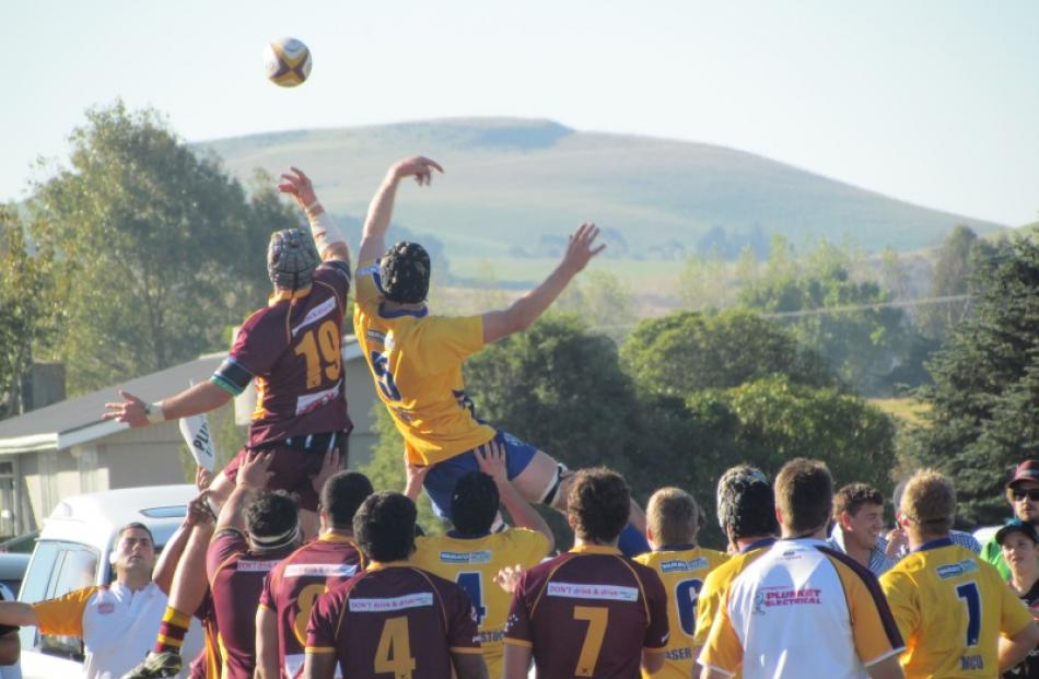 Athletic Marist and Valley contest a lineout during the Citizens Shield game at Weston today....