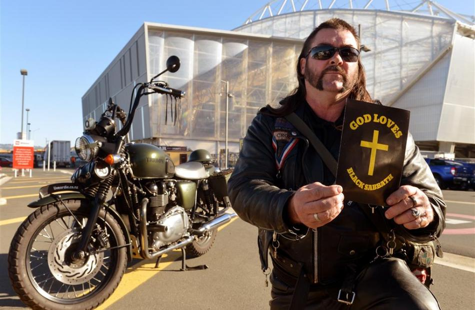 Dunedin biker  David Crosbie (50) is ready to spread God's word at the Black Sabbath concert...