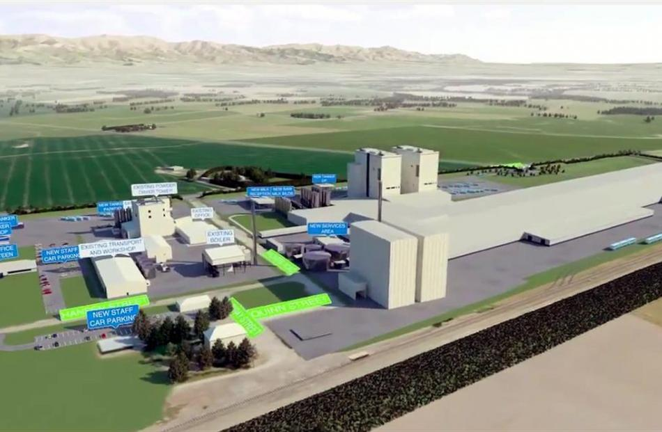 Fonterra's proposed expansion at its Studholme plant.  Images by youtube.