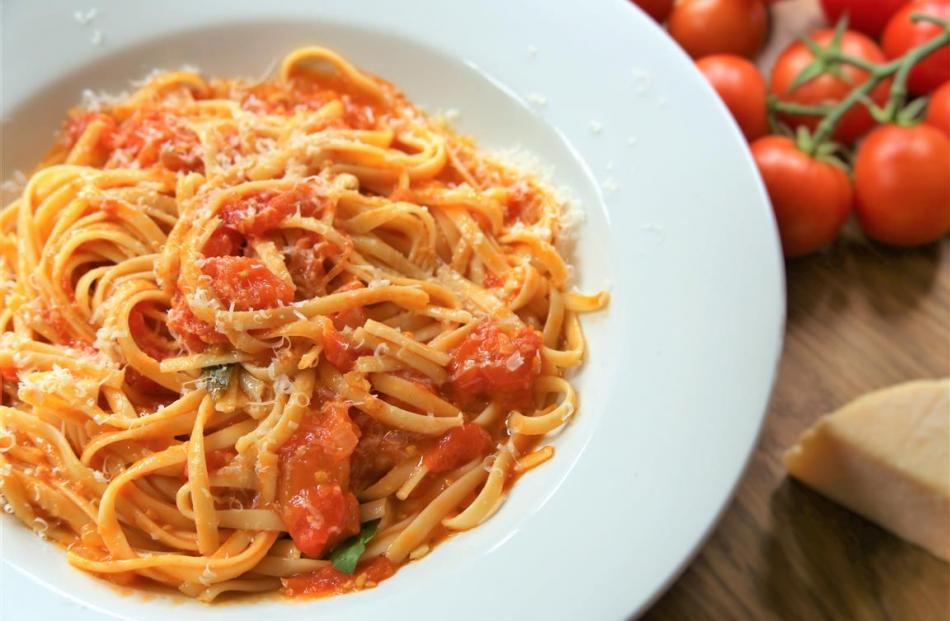 Home-made tomato spaghetti. Photo: Simon Lambert