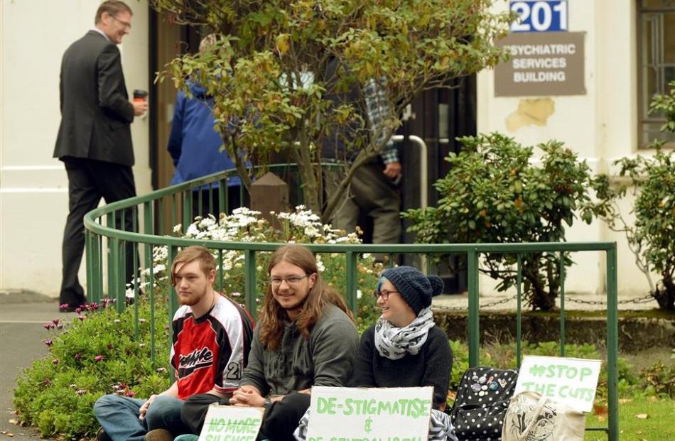 Mental health activists (from left) Andy Randell, Jasper Auld and Scout Barbour-Evans outside the...