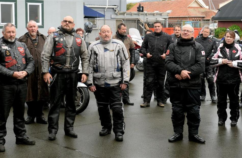 Some of the about 30 motorcyclists ready to leave Montecillo Veterans' Home and Hospital on the...