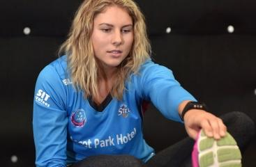 Steel defender Storm Purvis loosens up during a gym session in Dunedin this week. Photo by Gregor...