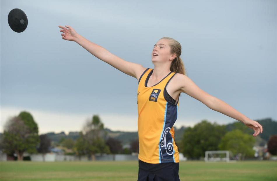 Taieri College pupil Zharna Beattie has broken the South Island under-14 discus record. Photo by...