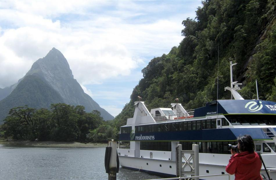 A tourist photographs Milford Sound earlier this year. Photo by Allison Beckham.