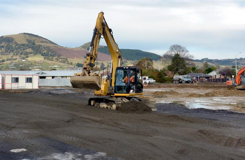 Contractors excavate the site of the new Countdown supermarket in Gordon Rd, Mosgiel. Photo by...