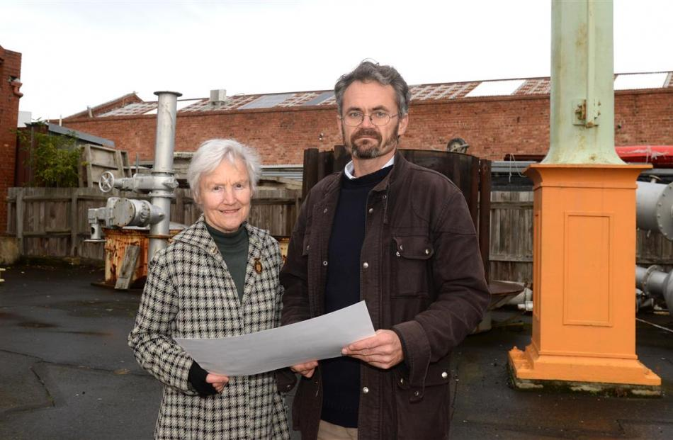 Dunedin Gasworks Museum Trust trustees Ann Barsby (left) and Dr Peter Petchey look over plans for...
