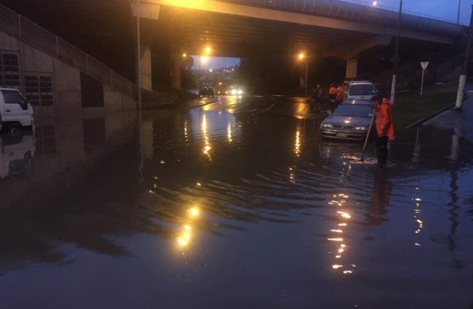 Flooding at the Glen in South Dunedin this morning. Photo: Stephen Jaquiery