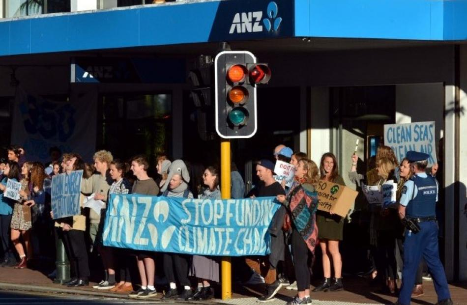 Protesters outside the ANZ on the corner of George and Hanover Sts.  Photo: Gerard O'Brien