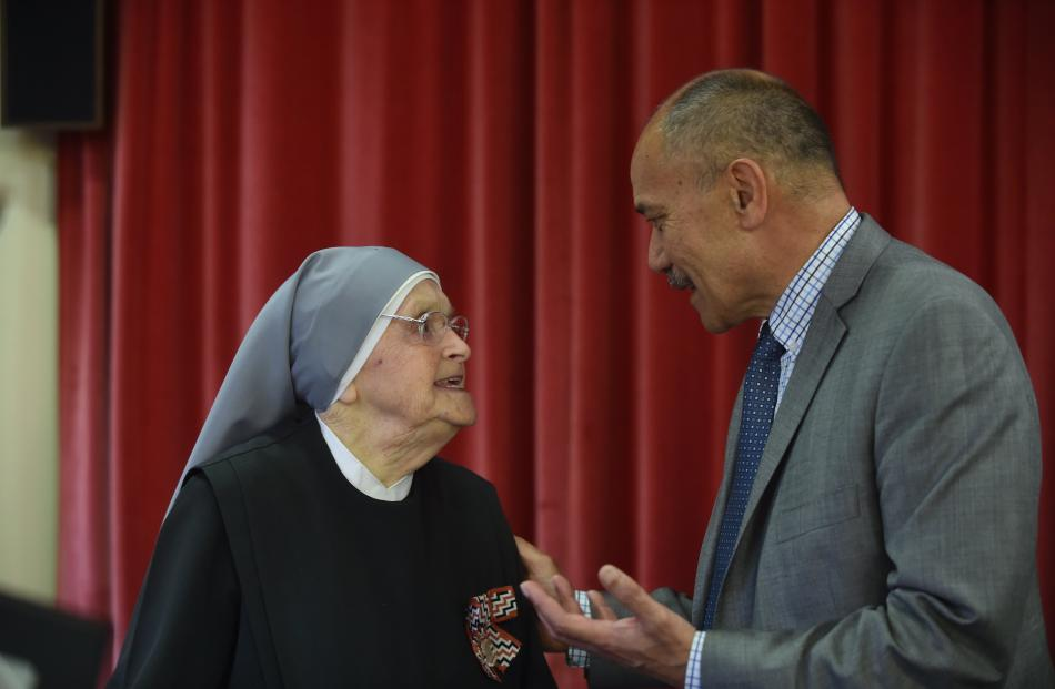 Sister Marie meets Sir Jerry at the Little Sisters of the Poor. Photo: Peter McIntosh