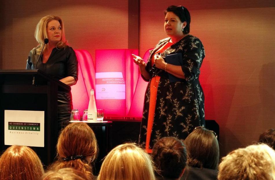 Social Housing Minister Paula Bennett (right) addresses the 2016 Women In Business Conference in...
