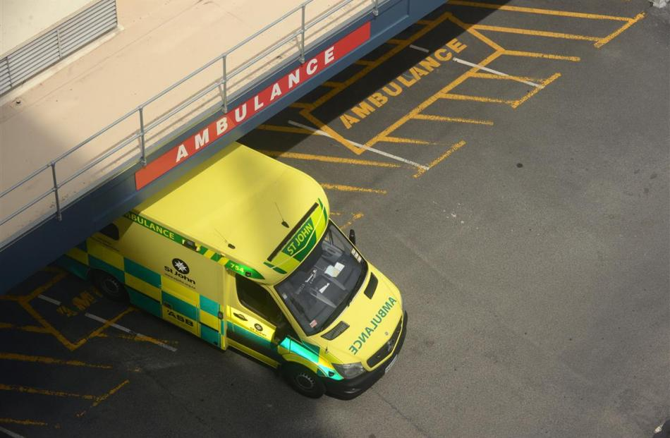 St John Ambulance at Dunedin Accident and Emergency Department. Photo by Gerard O'Brien.