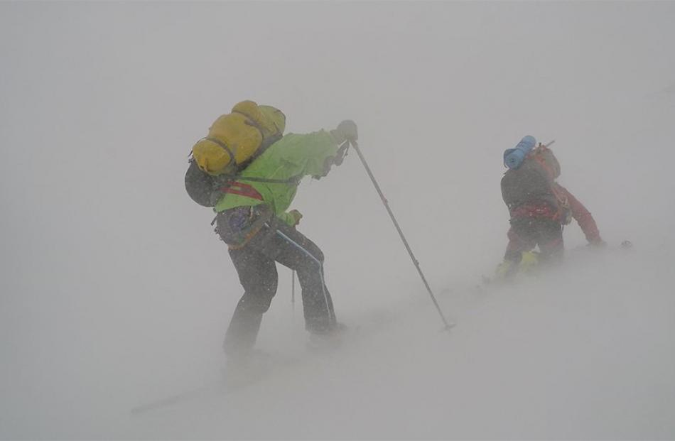 Tom MacTavish (left) and Kevin Nicholas grapple with wild South Georgian weather on the final...
