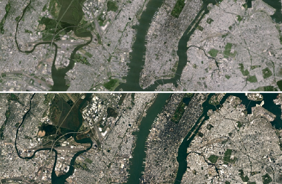 an image of new york from landsat 7 top and an updated image of