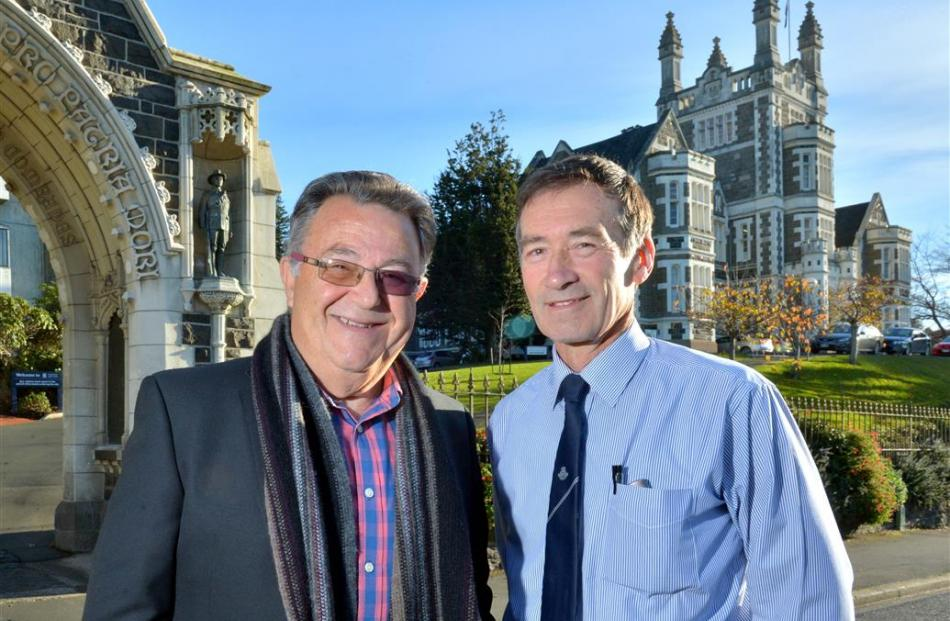 Otago Boys' High School teachers Atha Nazaris (left) and Rob Duffy have retired after nearly 100...