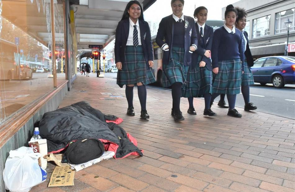 Otago Girls High School pupils (from left) Loisi Afimeimounga (16), Vivienne Moana (17), Sarah...