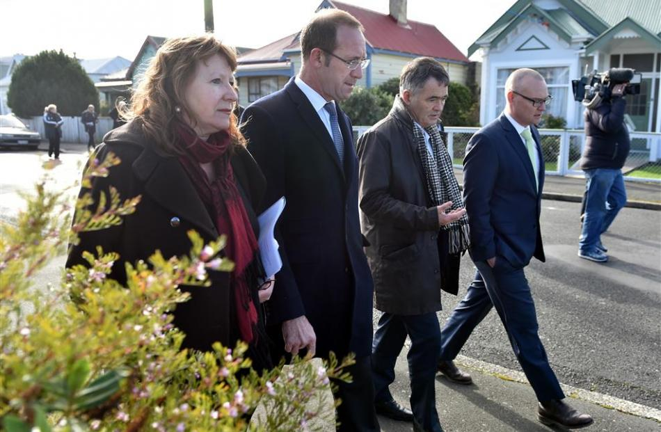 Labour leader Andrew Little (centre left) and Dunedin Mayor Dave Cull (centre right) are...