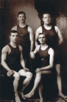 Arguably New Zealand's first Olympian, Victor Lindberg (second from left), who took part in the...