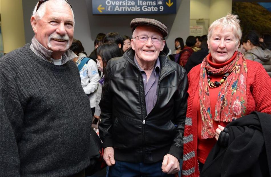 Kiwi Regional Airlines passengers (from left) George Addis, Garth Turner and Raeleen Addis are...
