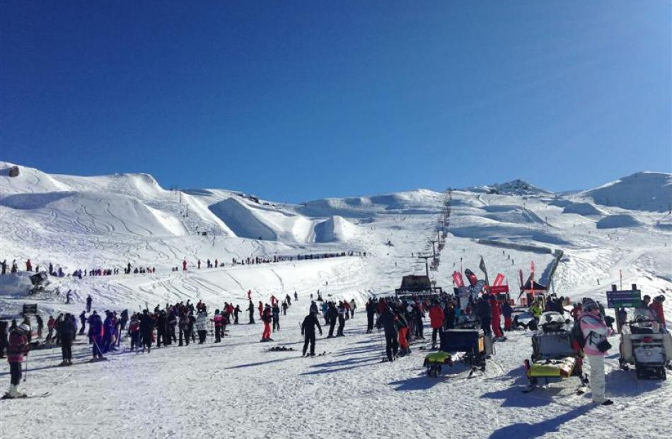 The Cardrona Alpine Resort closed its gates yesterday morning after reaching capacity. Photo...