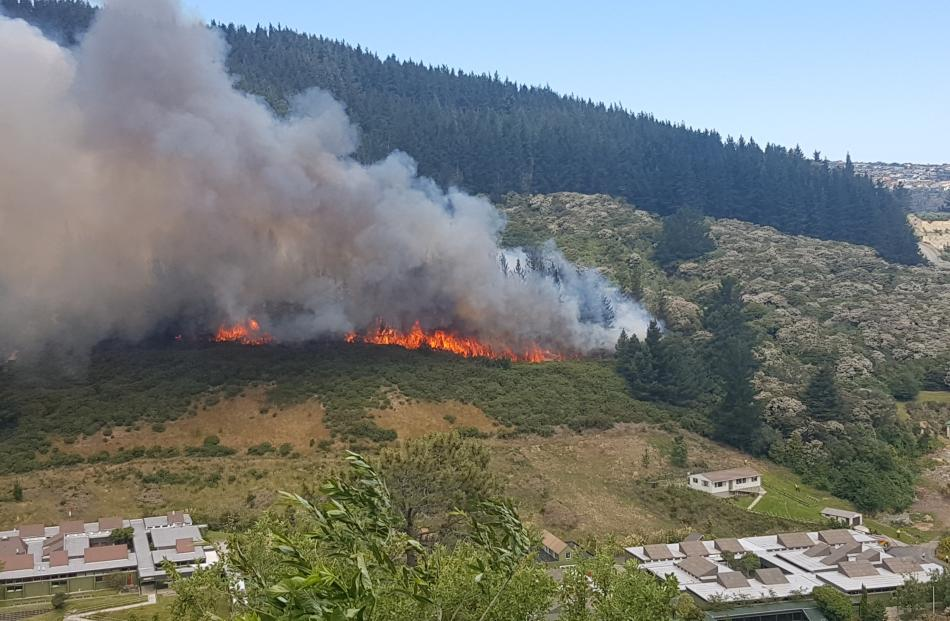 View of the large fire on Signal Hill. Photo: Jenny Elder