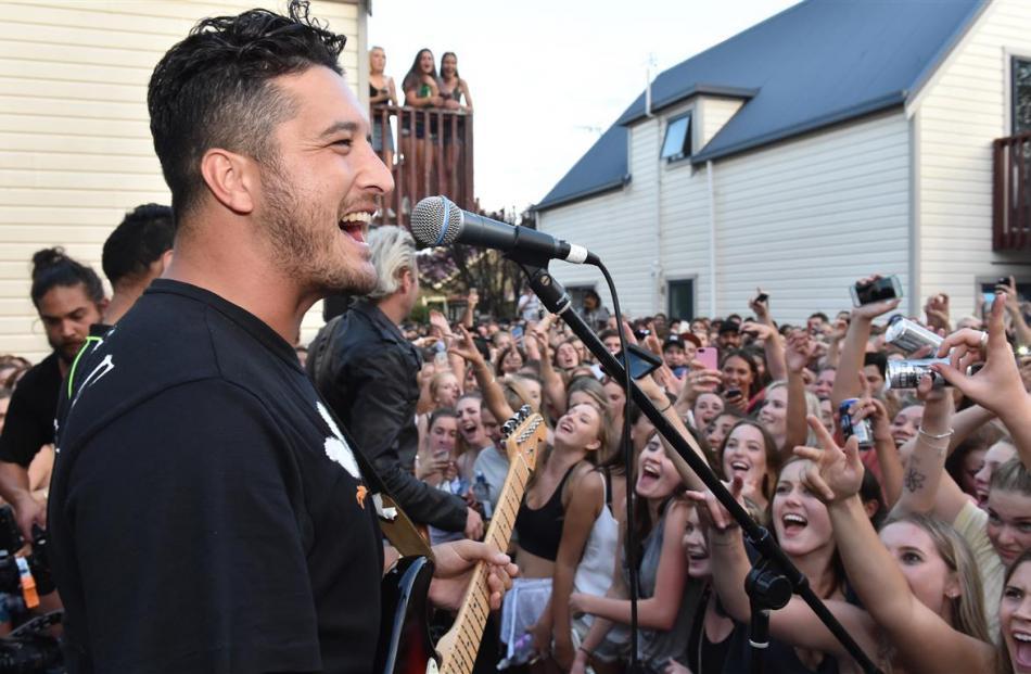Six60 singer Matiu Wallace entertains the crowd. Photo: Gregor Richardson