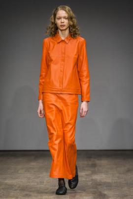 An all orange leather ensemble as seen at  Stockholm Fashion Week
