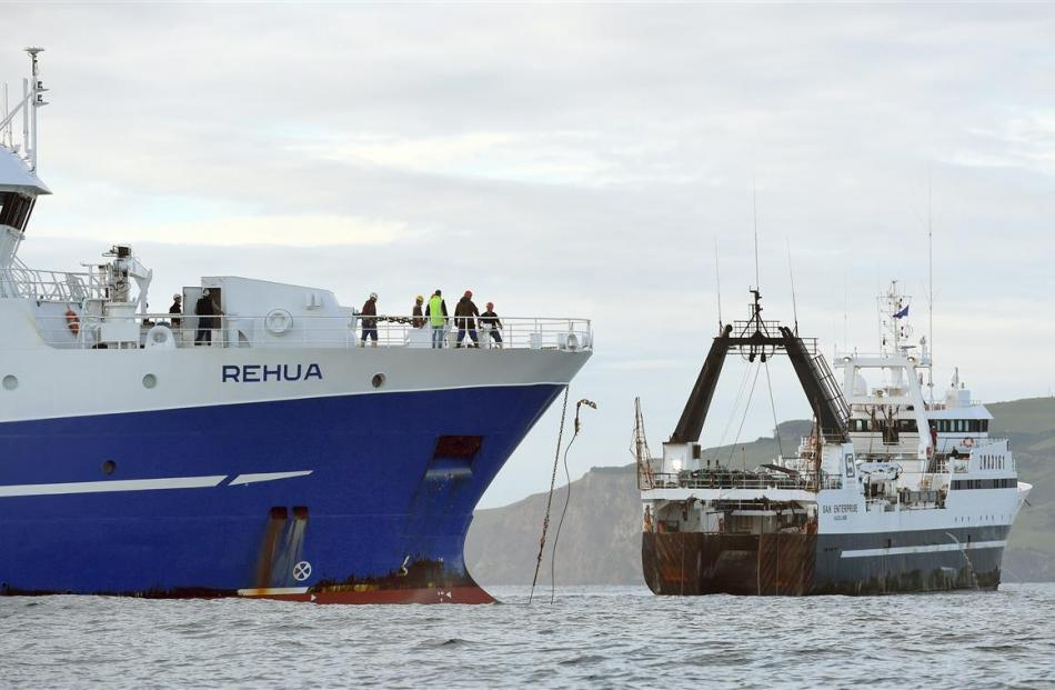 San Enterprise casts off the tow line from Sealord vessel Rehua, which is then manoeuvred to the...