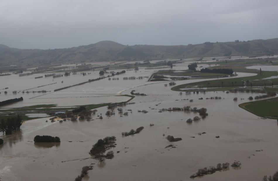 Flooding across paddocks in Taieri. Photo: ORC